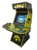 84 4-player, iowa hawkeyes, sports, football, yellow, black, lighted, yellow buttons, green trackball, spinner