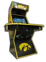 83 4-player, iowa hawkeyes, sports, football, yellow, black, lighted, yellow buttons, green trackball, spinner