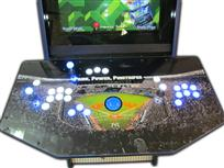 77 2-player, white buttons, blue buttons, lighted, blue trackball, sports, baseball, yankees