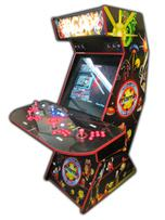 65 4-player, arcade classics, mame, lighted, red buttons, blue buttons, red trackball