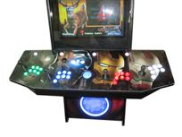 62 4-player, iron man, lighted, led lights, green buttons, blue buttons, blue trackball, red buttons, white buttons, spinner