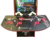 560 4-player, red buttons, lighted, black trackball, red trim, punisher, skull