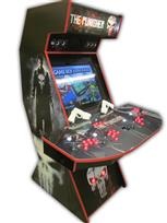 561 4-player, red buttons, lighted, black trackball, red trim, punisher, skull