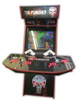 563 4-player, red buttons, lighted, black trackball, red trim, punisher, skull