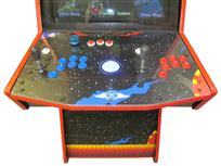 602 2-player, blue buttons, red buttons, blue trackball, red trim, spinner, supercade