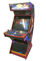 603 2-player, blue buttons, red buttons, blue trackball, red trim, spinner, supercade