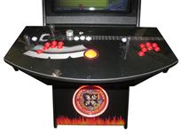 689 2-player, red buttons, yellow trackball, black trim, spinner, kiss, flames and guiitar