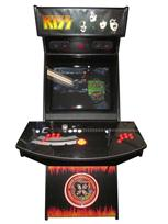 691 2-player, orange buttons, red trackball, black trim, spinner, kiss, flames and guitar