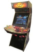 747 2-player, yellow buttons, red buttons, lighted, red trackball, black trim, gold trim, tron joystick, spinner, loard of the rings