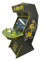 796 2-player, yellow buttons, black buttons, black trackball, yellow trim, black trim, tron joystick, spinner, iowa hawkeyes, hawk