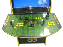797 2-player, yellow buttons, black buttons, black trackball, yellow trim, black trim, tron joystick, spinner, iowa hawkeyes, hawk