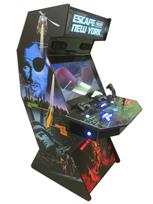 842 2-player, blue buttons, red buttons, lighted, blue trackball, black trim, tron joystick, spinner, escape from new york