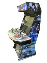 1035 4-player, green buttons, blue buttons, purple buttons, red buttons, white trackball, black trim, tron joystick, spinner, star wars