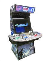 1037 4-player, green buttons, blue buttons, purple buttons, red buttons, white trackball, black trim, tron joystick, spinner, the arcade strikes back, star wars