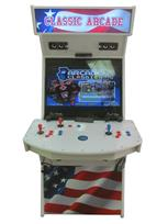 1039 2-player, blue buttons, red buttons, white buttons, blue trackball, white trim, classic arcade, america