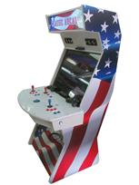 1042 2-player, blue buttons, red buttons, white buttons, blue trackball, silver trim, classic arcade, america