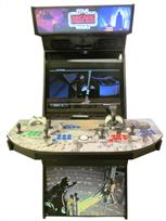 1043 4-player, green buttons, blue buttons, purple buttons, red buttons, white trackball, black trim, tron joystick, spinner, arcade strikes back, star wars