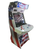 1044 2-player, blue buttons, red buttons, white buttons, blue trackball, white trim, classic arcade, america