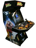 48 4-player, back the the future, lighted, orange buttons, orange trackball, spinner, tron joystick