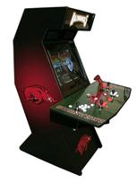 92 4-player, razorbacks, arkansas, sports, black, red, lighted, white buttons, red buttons, tron joystick, red trackball, spinner, football