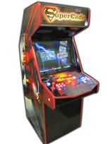 124 2-player, supercade, red buttons, blue buttons, lighted, red trackball, super man