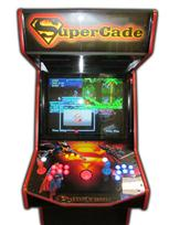 123 2-player, supercade, red buttons, blue buttons, lighted, red trackball, super man