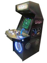 144 2-player, tron, lighted, led lights, blue buttons, white buttons, white trackball, tron joystick, spinner