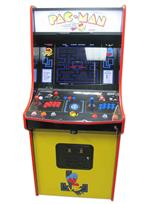 1007 2-player, blue buttons, red buttons, blue trackball, red trim, black trim, pac man