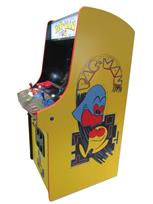 1008 2-player, blue buttons, red buttons, blue trackball, red trim, black trim, pac man