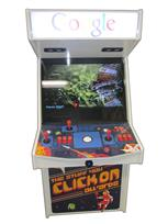 1056 2-player, blue buttons, red buttons, orange buttons, white trackball, white trim, google arcade