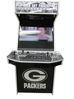 1064 2-player, black buttons, white buttons, black trackball, black trim, white trim, spinner, green bay packers