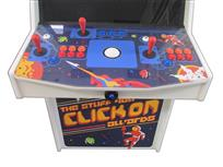 1066 2-player, blue buttons, red buttons, orange buttons, white trackball, white trim, google arcade