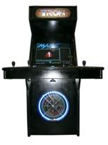 107 4-player, led lights, tron, white buttons, blue trackball, black, tron joystick, spinner