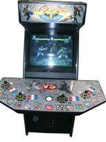 115 4-player, street fighter, red buttons, white buttons, blue buttons, white trackball, coin door