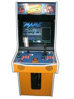 114 2-player, donkey kong, orange, orange buttons, orange trackball, coin door, tron joystick, spinner