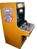 113 2-player, donkey kong, orange, orange buttons, orange trackball, coin door, tron joystick, spinner