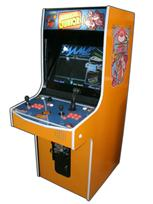 112 2-player, donkey kong, orange, orange buttons, orange trackball, coin door, tron joystick, spinner