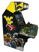 117 4-player, tabor arcade, sports, football, mountaineers, black buttons, blue buttons, black trackball, tron joystick, spinner