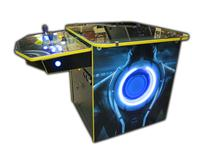 211 2-player, tron, lighted, blue buttons, yellow buttons, yellow trackball, spinner, led lights