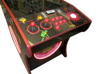 531 2-player, lighted, led lights, red buttons, white trackball, dual trackballs
