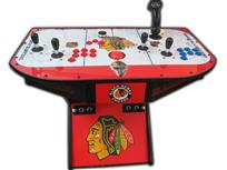 329 2-player, red buttons, blue buttons, spinner, tron joystick, sports, blackhawks, hockey