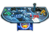 309 4-player, lighted, mame, space, led lights, green buttons, blue buttons, red buttons, yellow buttons, white trackball, spinner, tron joystick
