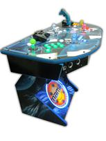 308 4-player, lighted, mame, space, led lights, green buttons, blue buttons, red buttons, yellow buttons, white trackball, spinner, tron joystick
