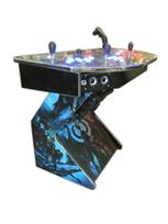 306 4-player, world of warcraft, blue buttons, orange trackball, red buttons, tron joystick, spinner, lighted