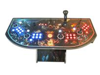 305 4-player, world of warcraft, blue buttons, orange trackball, red buttons, tron joystick, spinner, lighted