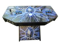 297 2-player, skull, blue flames, lightning, blue buttons, black buttons, blue trackball
