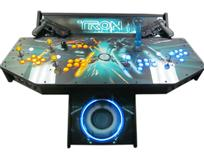 289 4-player, tron, led lights, lighted, yellow buttons, blue buttons, clear trackball, tron joystick, spinner