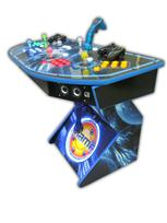 286 4-player, lighted, mame, space, led lights, green buttons, blue buttons, red buttons, yellow buttons, white trackball, spinner, tron joystick