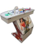 564 4-player, yellow buttons, green buttons, blue buttons, red buttons, white buttons, lighted, white trackball, white trim, tron joystick, spinner, wonder woman