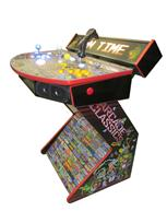 723 2-player, yellow buttons, blue buttons, lighted, white trackball, red trim, black trim, spinner, fun time, arcade game pics